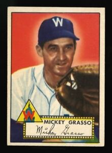 1952-TOPPS-90-MICKEY-GRASSO-SOME-WAX-PACK-PAPER-ON-BACK-WELL-CENTERED