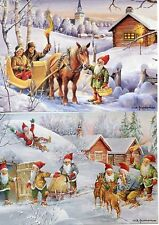 4 NEW Assorted Swedish Christmas Postcards by artist Erik Forsman Tomte Gnome