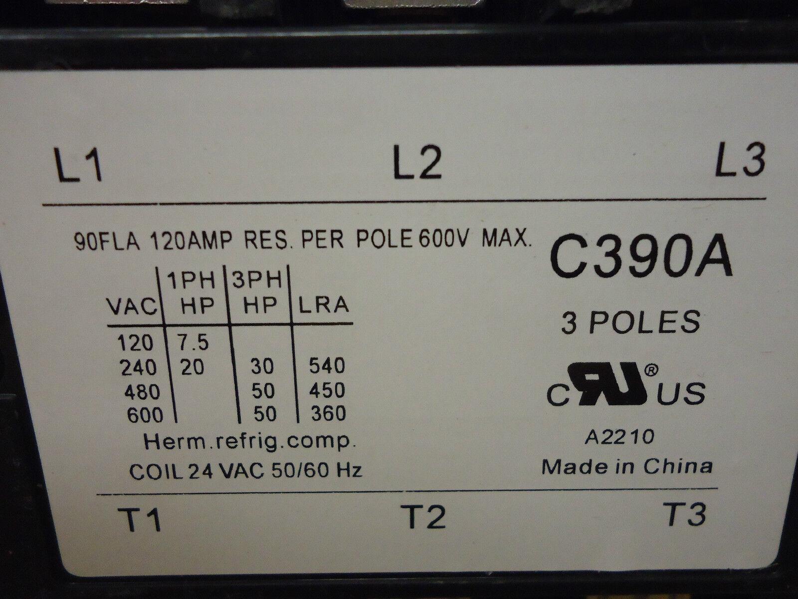 90 AMP 24 VAC 3-Pole Definite Purpose Contactor HVAC Packard
