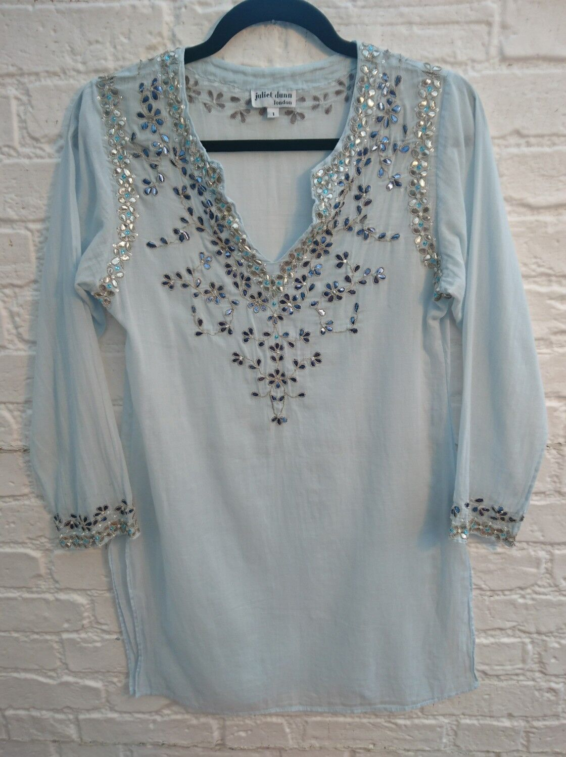 Juliet Dunn Blau Sequin Kaftan Dress Größe 1 UK 8 10 Embellished Hippy Boho Top