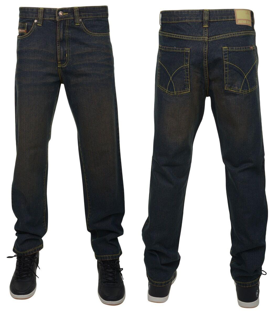 Nuovo da Uomo Grande KingDimensione Boston Vintage Sbiadito Jeans Scuri verde Blu