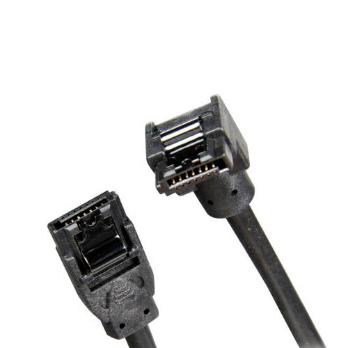 """30cm//12/"""" Premium SATA 3 Round Cable 6GB//s Straight to Right Angle latch external"""