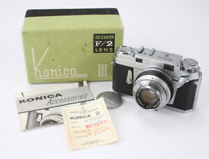 KONICA-III-48-2-HEXANON-SOME-DUST-BOXED-BAD-SHUTTER-AS-IS-cks-188543