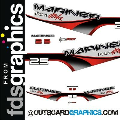 Mariner 25hp two stroke outboard engine decals//sticker kit