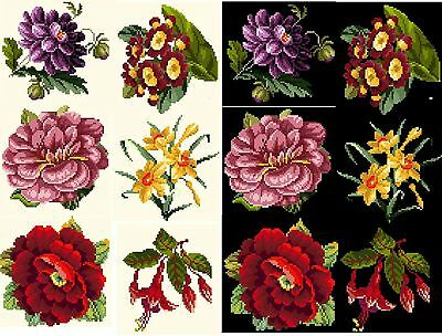 Berlinwork Rose flower coasters counted cross stitch kit or chart 14s aida