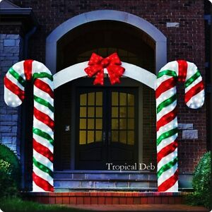 image is loading giant 7 ft sweet candy cane archway w - Candy Cane Christmas Yard Decorations