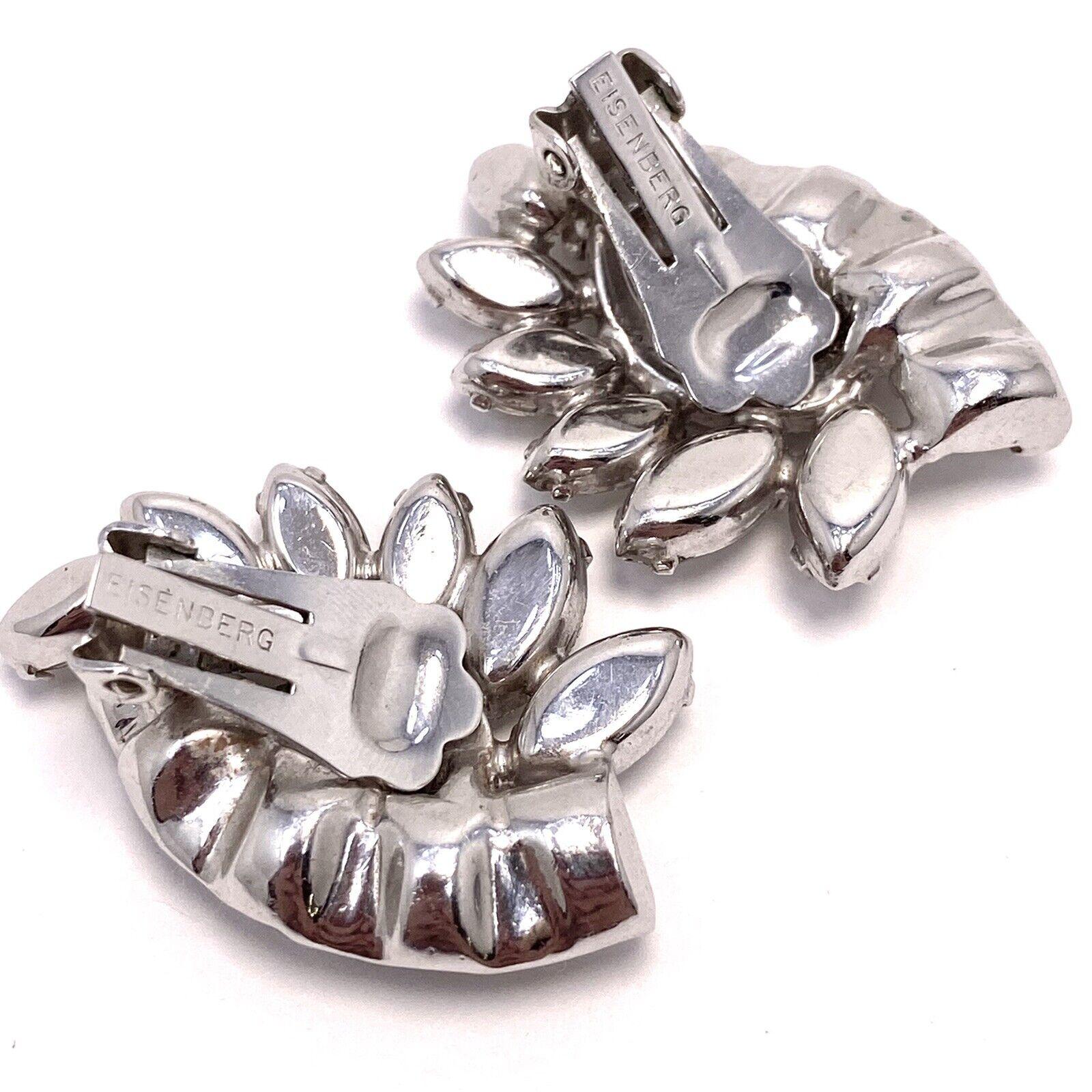 Vtg Eisenberg Rhinestone Cluster Clip Earrings - image 4