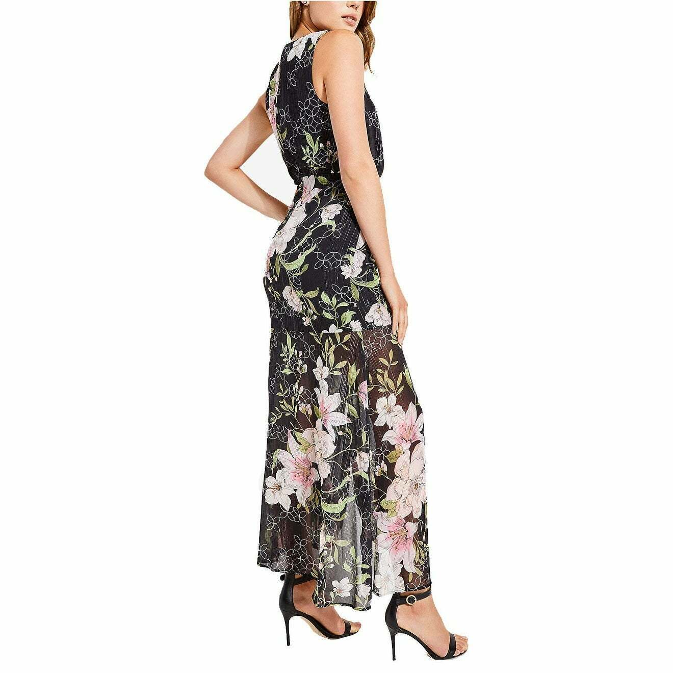 Aqua Womens B//W Sheer Tiered Special Occasion Maxi Dress Gown L BHFO 8622