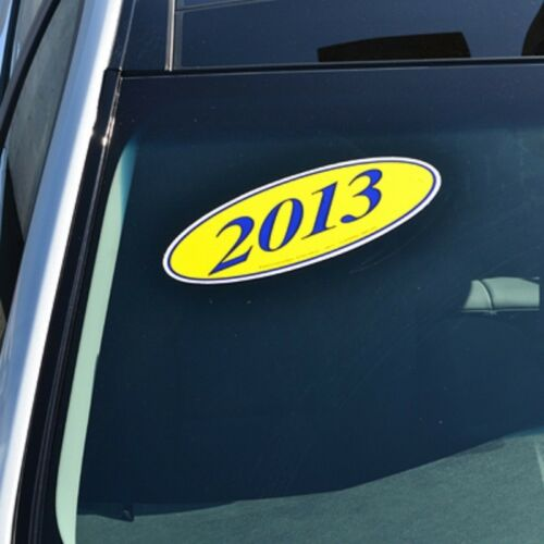 Car Dealer Windshield Oval Model Year Stickers (20 packs) Blue and Yellow