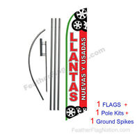 Llantas Nuevas Y Usadas 15' Feather Banner Swooper Flag Kit With Pole+spike
