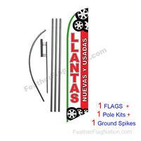 Llantas Nuevas Y Usadas 15' Feather Banner Swooper Flag Kit With Pole+spike