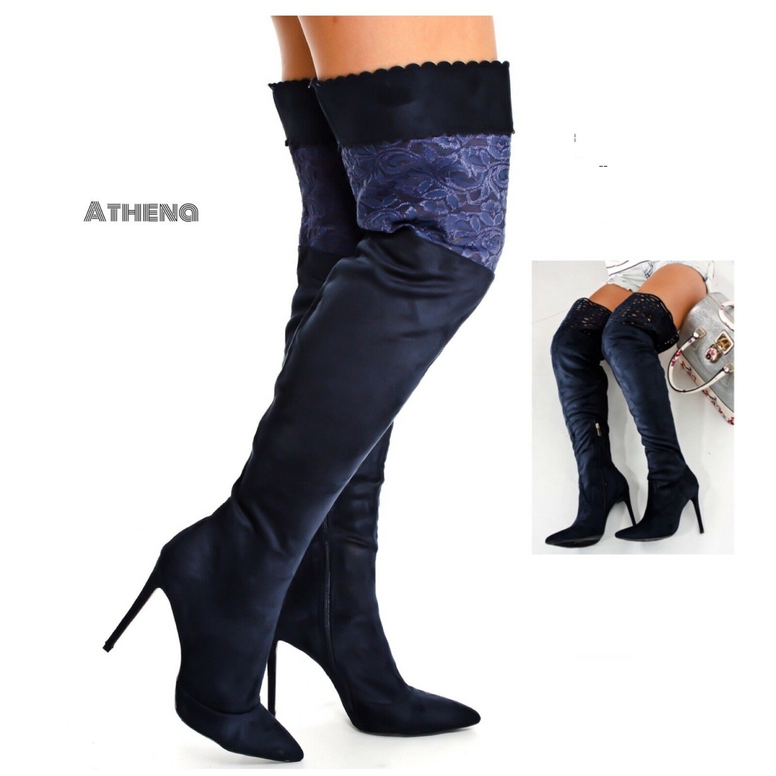 New Women's Over The Knee High Lace Partial Zipper Stiletto Heel Boots