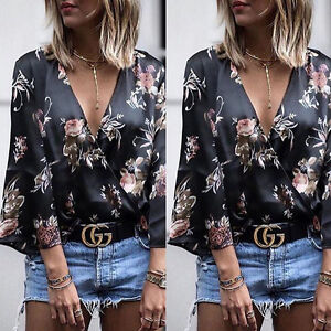 Fashion-Women-Ladies-Long-Sleeve-Loose-Blouse-Summer-V-Neck-Casual-Shirt-Tops