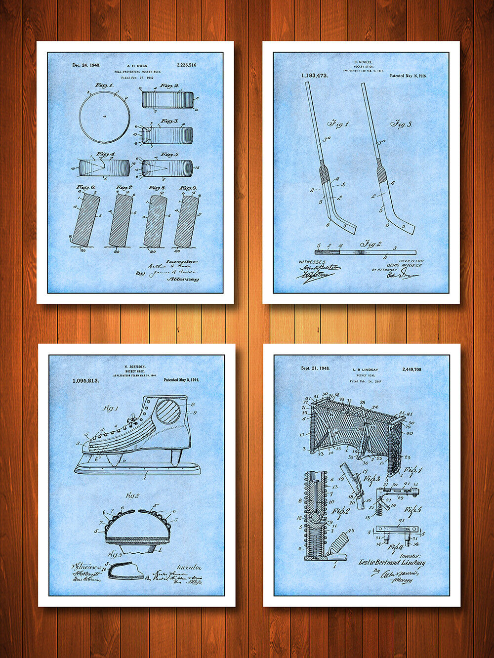 Ice Hockey Patent Poster Prints - Set of 4 - Unframed
