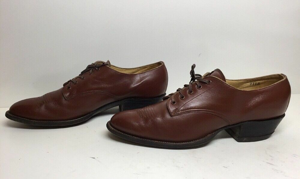 VTG MENS UNBRANDED CASUAL LEATHER BROWN BOOTS SIZE 11.5 A