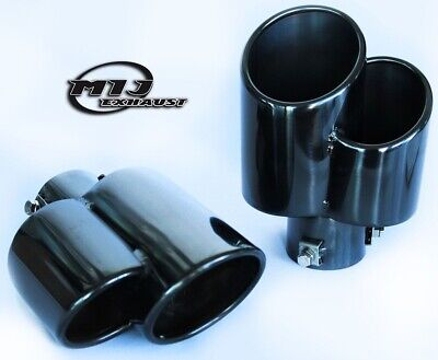 """Pair Of Black Chrome Exhaust Slash Cut Twin 3/"""" TailPipes Stainless Tail Trim Tip"""