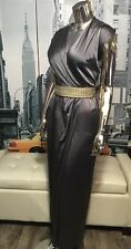 RORY BECA Grecian Drape Wrap Gunmetal Dark Grey Silk Maxi Long Dress S