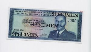SPECIMEN-Burundi-5000-Francs-Banknote-1968-Pick-26-UNC-Condition