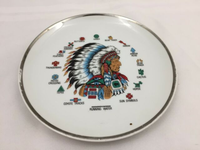 Running Water Collector Plate Native American Indian Chief