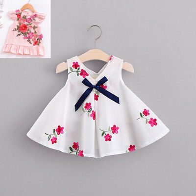 Infant Newborn Baby Girl Princess Dress Bowknot Gallus Party Tute Dress Clothes