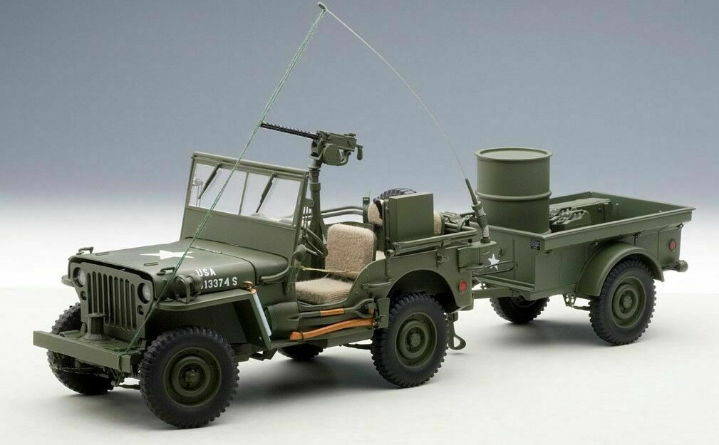 AutoArt 1 18 WILLYS Jeep With Trailer GREEN 74016 NEW in Box Auto Art Willy's