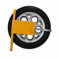 HEAVY DUTY KEY WHEEL CLAMP LOCK SECURITY ADJUSTABLE CAR TRAILER VAN CARAVAN