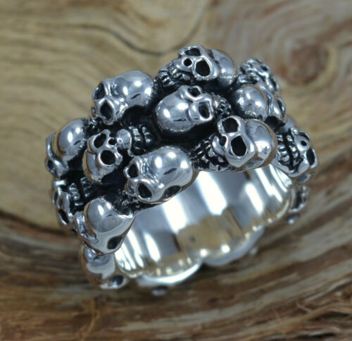 Ring 3-reihig Schädel Bikerschmuck massiv Sterling Silber 925 Skull Totenkopf