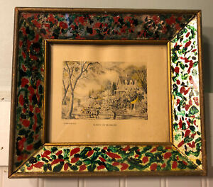 Antique-Vintage-Currier-amp-Ives-Season-of-Blossoms-Print-Gilded-Wood-Glass-Frame