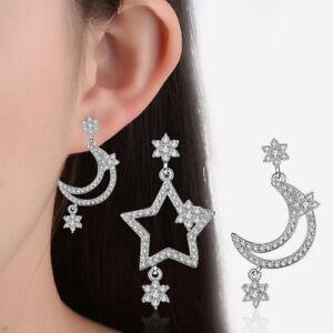 Genuine-925-Sterling-Silver-Rhinestone-Crystal-Moon-And-Star-Stud-Drop-Earrings