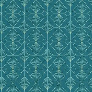 Moderne-Art-Deco-Geometrique-Ventilateur-Peint-Rouleaux-Sarcelle-Argent