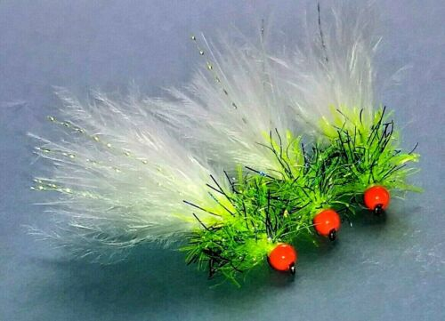 Nano Blue Flash Straggle Trout Fly Lure 3 x Hothead Cats Whisker White Marabou