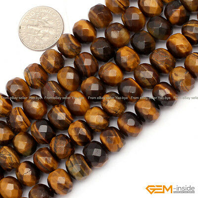 Rondelle Heart Coin Drip Drop Tiger Eye Beads Jewelry Making Gemstone Beads 15""