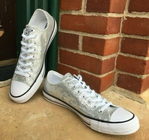Converse-All-Star-Chuck-Taylor-Shiny-Shoes-Silver-Metallic-Sz-11-New-Low-Top-Fun