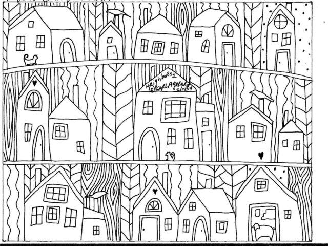 Rug Hook CRAFT PAPER PATTERN Neighbors1 FOLK ART ABSTRACT Karla Gerard