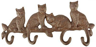 Wandhaken-Leiste Schlüsselhaken Gusseisen Garderobenhaken Hakenleiste Katzen
