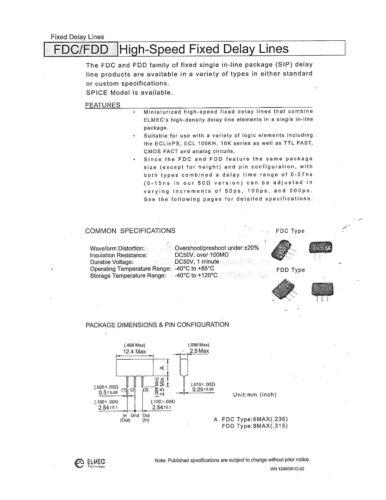 FDC1105 5 pcs High-Speed Fixed Delay Line ELMEC 3-pin SIP package 1.1ns