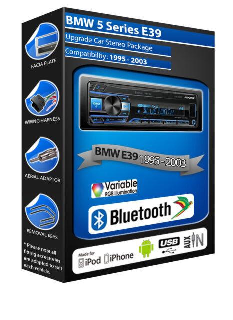 BMW 5 Series E39 car radio Alpine UTE-200BT Bluetooth Handsfree Mechless Stereo