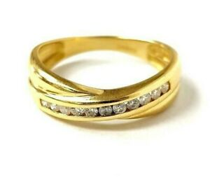 Diamond-Half-Eternity-Ring-Round-Brilliant-Cut-18ct-Yellow-Gold-Size-I-1-2