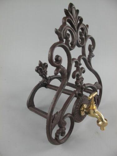 Brunnen Wandplatte Schlauchhalter Wasserspender braun Eisen+Messing Hahn Vintage