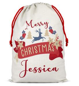 Personalizzato-Natale-Sacco-Babbo-Natale-Regalo-Di-Natale-Boy-Girl-calza-presenti-Bag-54