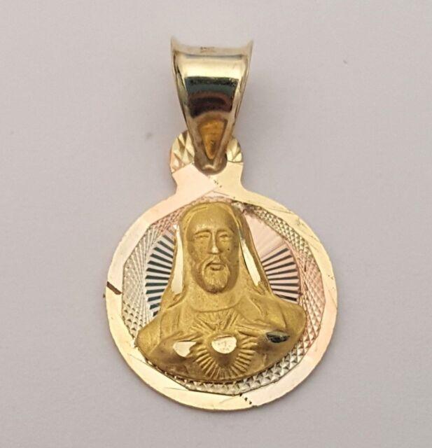 14k Yellow Gold Jesus CZ Religious Pendant Charm