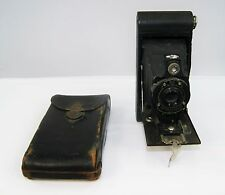 Vintage KODAK 2A HAWK-EYE Model B Bellows Camera EKC Leather Case Shutter Works