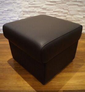 Dunkelbraun-Echtleder-Hocker-50x50-mit-Stauraum-Leder-Sitzhocker-Sitzwuerfel