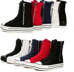 Fashion-Canvas-High-Top-Zip-Creeper-Platform-Lace-Up-Womens-Ankle-Boots-Sneakers