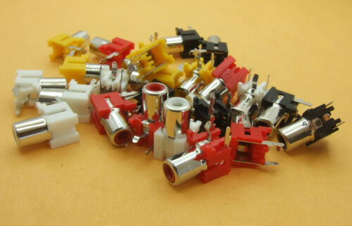 40PCS 3-pin 4 color Copper RCA Socket with Switch For Amplifier TV Monitoring