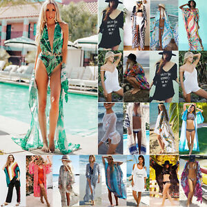 56d28c80f Detalles de Mujer Boho Floral Bikini Vestido Pareo Ropa de Playa Traje Baño  Chaqueta Kimono