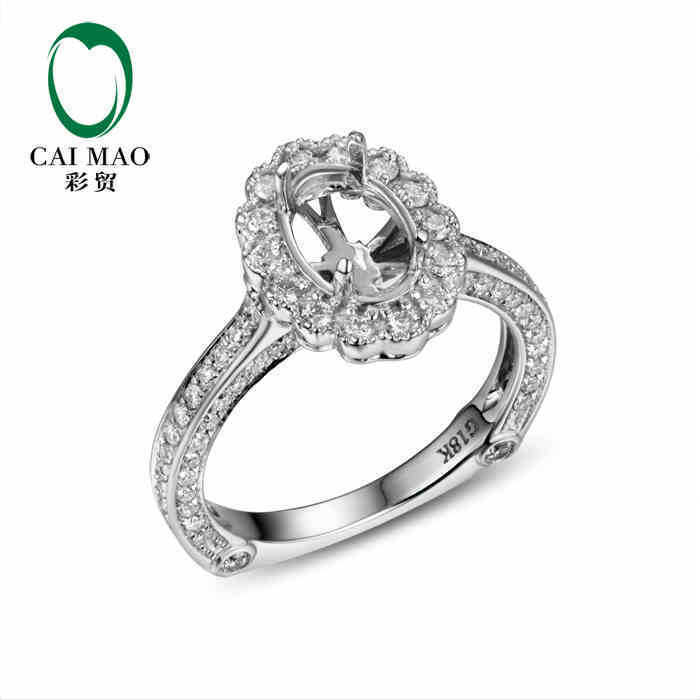5x7mm Oval 14K White gold Natural 0.8ct Full Cut Diamond Pave Prong Ring Setting