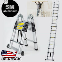 5m Multi-purpose Aluminium Telescopic Ladder Extension/folding Extendable Us