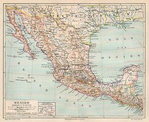 Cartina Stradale Messico.B6047 Messico Mexico Carta Geografica Antica Del 1890 Old Map Ebay