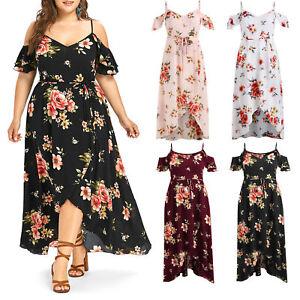 04a56cbb4ddb Plus Size Casual Dress Cold Dew Shoulder Floral Overlap Maxi Flowing ...